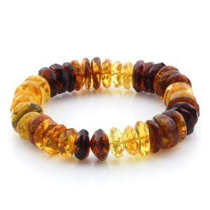 Adult Baltic Amber Bracelet Tablet Beads 14mm 18gr. JNR174