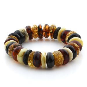 Adult Baltic Amber Bracelet Tablet Beads 16mm 31gr. JNR176