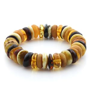 Adult Baltic Amber Bracelet Tablet Beads 14mm 26gr. JNR177