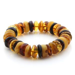 Adult Baltic Amber Bracelet Tablet Beads 14mm 25gr. JNR178