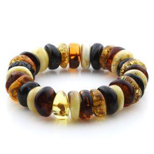 Adult Baltic Amber Bracelet Tablet Beads 18mm 32gr. JNR179