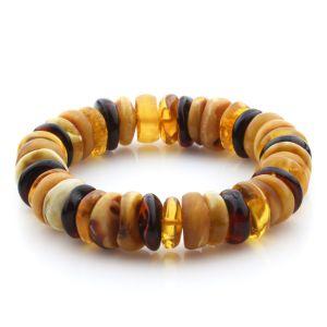 Adult Baltic Amber Bracelet Tablet Beads 14mm 25gr. JNR185