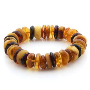 Adult Baltic Amber Bracelet Tablet Beads 14mm 24gr. JNR188