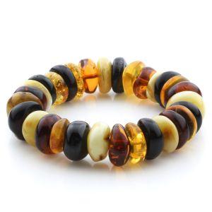 Adult Baltic Amber Bracelet Tablet Beads 16mm 31gr. JNR189