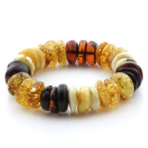 Adult Baltic Amber Bracelet Tablet Beads 16mm 29gr. JNR190