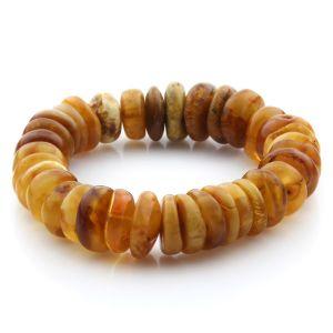 Adult Baltic Amber Bracelet Tablet Beads 16mm 28gr. JNR191