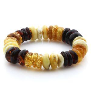Adult Baltic Amber Bracelet Tablet Beads 16mm 29gr. JNR192