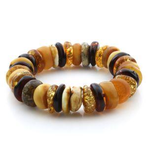Adult Baltic Amber Bracelet Tablet Beads 16mm 32gr. JNR193