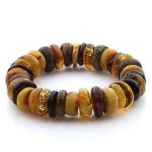 Adult Baltic Amber Bracelet Tablet Beads 16mm 31gr. JNR196