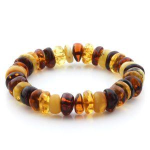 Adult Baltic Amber Bracelet Tablet Beads 12mm 19gr. JNR197