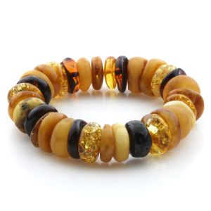 Adult Baltic Amber Bracelet Tablet Beads 15mm 29gr. JNR198