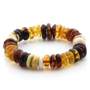 Adult Baltic Amber Bracelet Tablet Beads 14mm 21gr. JNR199