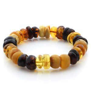 Adult Baltic Amber Bracelet Tablet Beads 12mm 18gr. JNR202