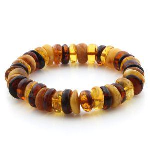 Adult Baltic Amber Bracelet Tablet Beads 13mm 19gr. JNR203