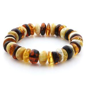 Adult Baltic Amber Bracelet Tablet Beads 13mm 21gr. JNR204