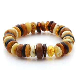 Adult Baltic Amber Bracelet Tablet Beads 15mm 25gr. JNR210
