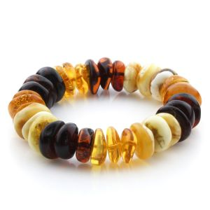 Adult Baltic Amber Bracelet Tablet Beads 16mm 26gr. JNR216