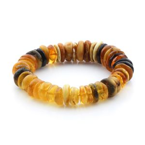Adult Baltic Amber Bracelet Tablet Beads 16mm 23gr. JNR233