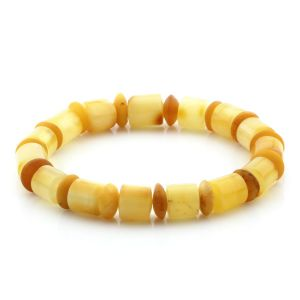 Adult Baltic Amber Bracelet Tablet Cylinder Beads 10mm 8gr. MRC141