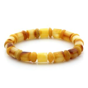 Adult Baltic Amber Bracelet Tablet Cylinder Beads 9mm 8gr. MRC149
