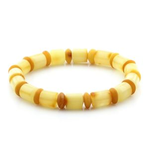Adult Baltic Amber Bracelet Tablet Cylinder Beads 9mm 10gr. MRC150