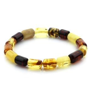 Adult Baltic Amber Bracelet Cylinder Beads 12mm 7gr. MRC161