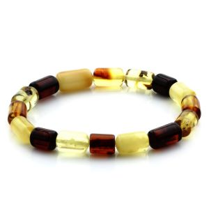 Adult Baltic Amber Bracelet Cylinder Beads 12mm 7gr. MRC162