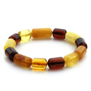 Adult Baltic Amber Bracelet Cylinder Beads 14mm 9gr. MRC163