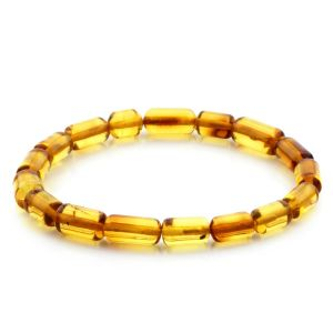 Adult Baltic Amber Bracelet Cylinder Beads 11mm 4gr. MRC172