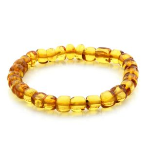 Adult Baltic Amber Bracelet Cylinder Beads 7mm 6gr. MRC177