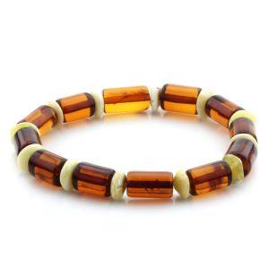 Adult Baltic Amber Bracelet Tablet Cylinder Beads 11mm 8gr. MRC197