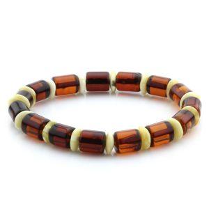 Adult Baltic Amber Bracelet Tablet Cylinder Beads 10mm 9gr. MRC214