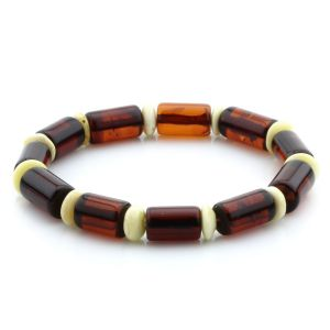 Adult Baltic Amber Bracelet Tablet Beads 13mm 19gr. MRC215