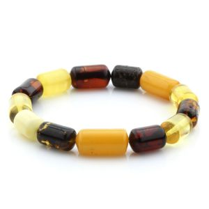 Adult Baltic Amber Bracelet Cylinder Beads 15mm 9gr. MRC217