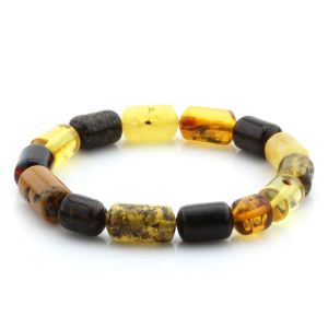 Adult Baltic Amber Bracelet Cylinder Beads 14mm 9gr. MRC218