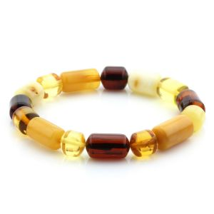 Adult Baltic Amber Bracelet Cylinder Beads 15mm 9gr. MRC219
