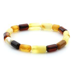 Adult Baltic Amber Bracelet Cylinder Beads 11mm 5gr. MRC235