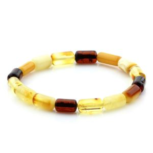 Adult Baltic Amber Bracelet Cylinder Beads 11mm 5gr. MRC236