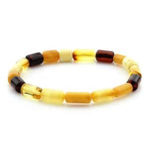 Adult Baltic Amber Bracelet Cylinder Beads 10mm 4gr. MRC242