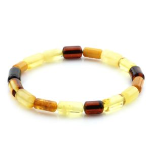 Adult Baltic Amber Bracelet Cylinder Beads 10mm 4gr. MRC244