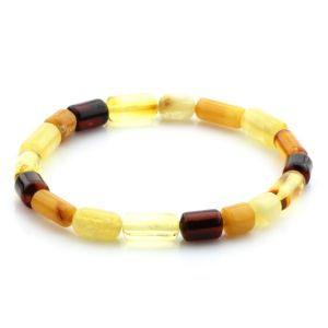Adult Baltic Amber Bracelet Cylinder Beads 12mm 4gr. MRC245