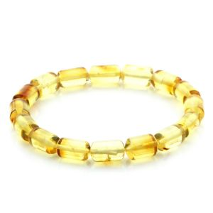 Adult Baltic Amber Bracelet Cylinder Beads 11mm 7gr. MRC251