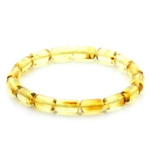 Adult Baltic Amber Bracelet Cylinder Beads 11mm 5gr. MRC254