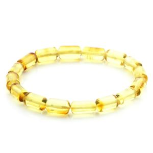 Adult Baltic Amber Bracelet Cylinder Beads 12mm 5gr. MRC255