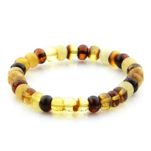 Adult Baltic Amber Bracelet Tablet Beads 8mm 7gr. MRC262