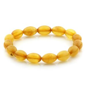 Adult Baltic Amber Bracelet Olive Beads 12mm 6gr. MRC268