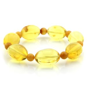 Adult Baltic Amber Bracelet Olive Round Beads 18mm 17gr. MRC281