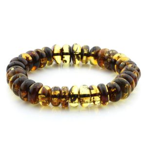 Adult Baltic Amber Bracelet Tablet Beads 11mm 17gr. MRC283