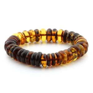 Adult Baltic Amber Bracelet Tablet Beads 12mm 16gr. MRC287