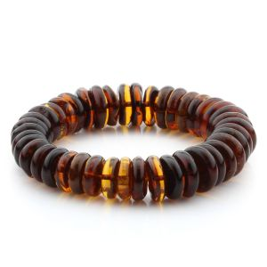 Adult Baltic Amber Bracelet Tablet Beads 15mm 30gr. MRC289